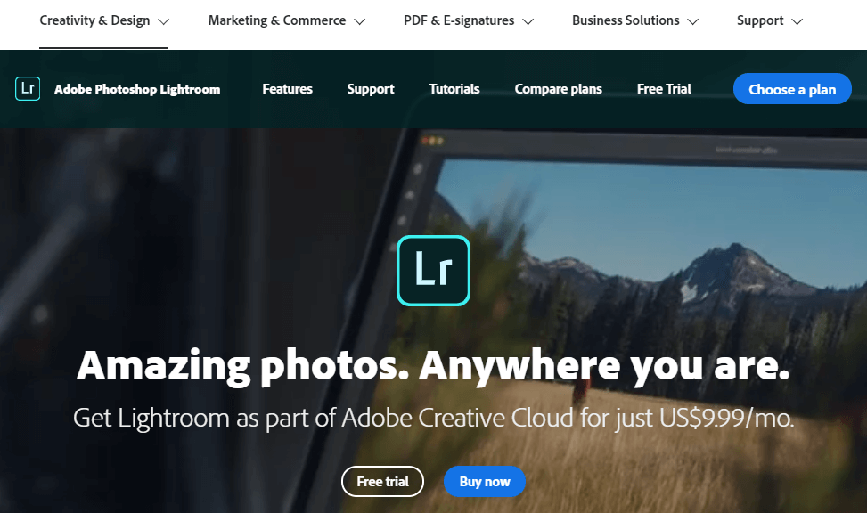 Adobe Photoshop Lightroom page