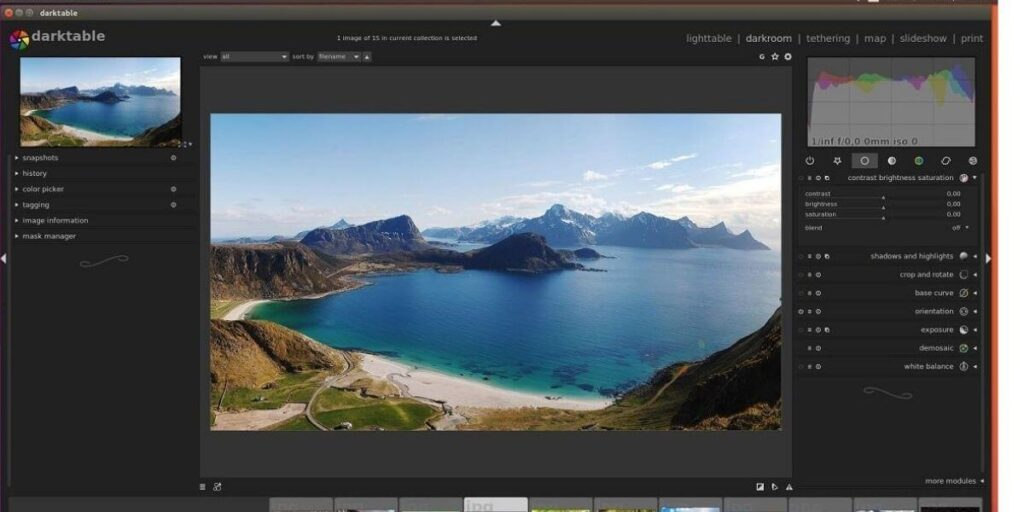 Darktable- best free photo organizing software for pc