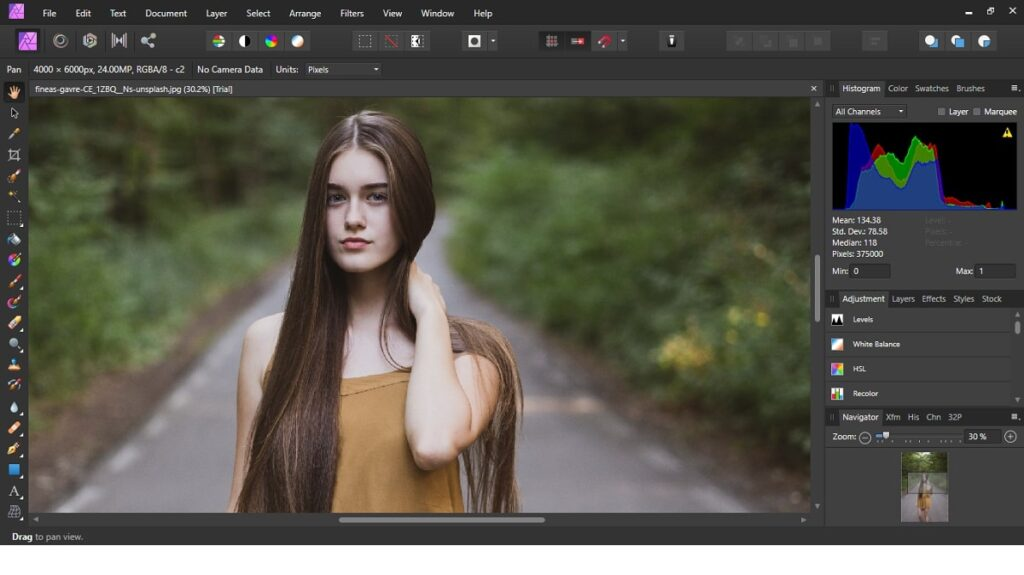 the interface of affinity photo