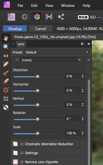 lens correction tool in Affinity Photo