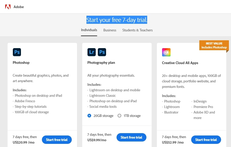 start your free 7-day trial page