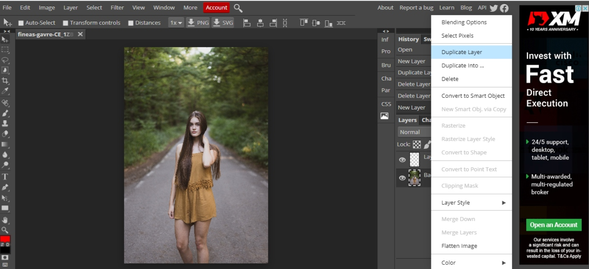 create a layer in Photopea by right click on the background layer
