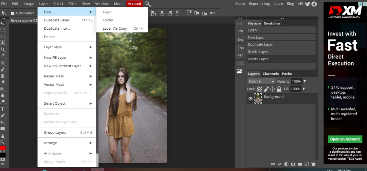 create layer in Photopea from the top bar menu