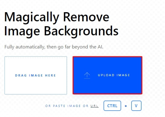 open an image in Clipping Magic by clicking on the Upload Image