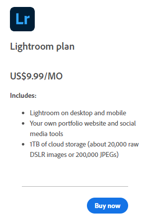 Lightroom Signle App Plan