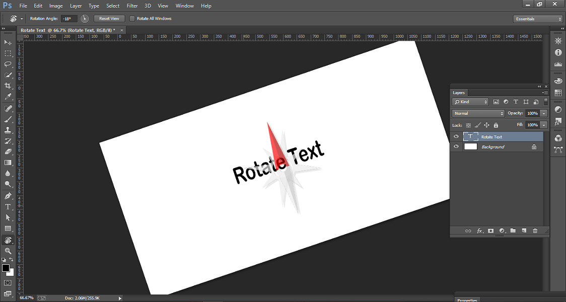 move the cursor to rotate layer slightly in Photoshop