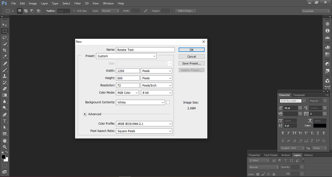 new dialogue box in Photoshop